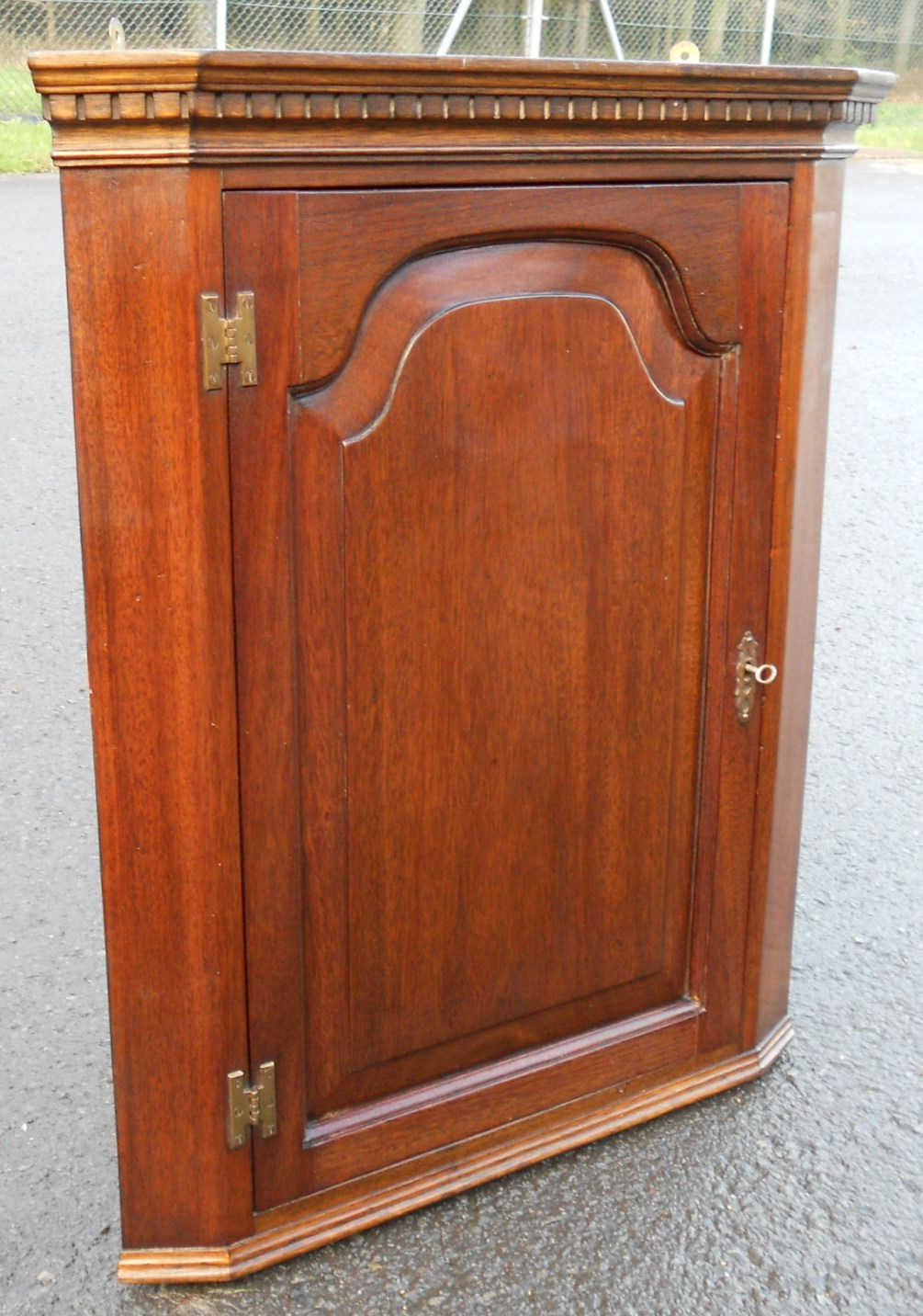 Small Mahogany Hanging Corner Cupboard